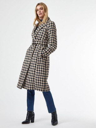 Dorothy Perkins Belted Wrap Dogtooth Coat -White/Black