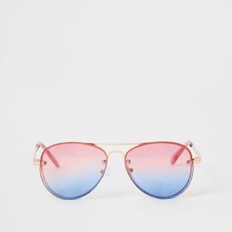 River Island Girls Pink rimless aviator sunglasses