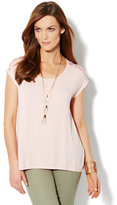 New York & Co. Lace & Pleat Knit Top