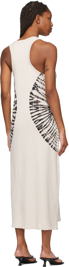Thumbnail for your product : Raquel Allegra Off-White Tie-Dye Baby Rib Tank Dress
