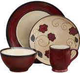 Mikasa Belmont Round Red Leaves 16 Piece Dinnerware Set
