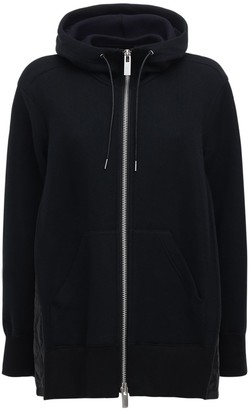 Sacai Jersey Zip-Up Hoodie W/ Quilted Detail