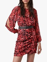 AllSaints Barre Ambient Animal Print Dress, Red
