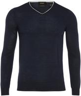Oxford Merino Wool Tip V Pullover Petrl X