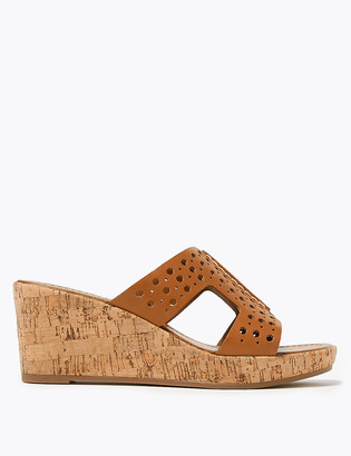 Marks and Spencer Wide Fit Leather Perforated Wedge Mules