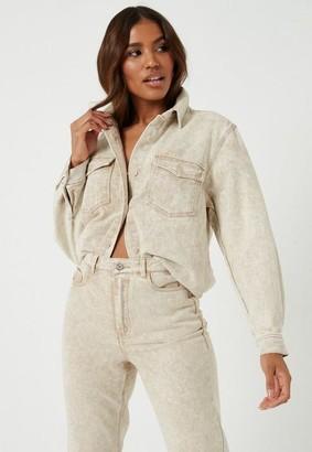 Missguided Sand Co Ord Oversized Denim Shirt