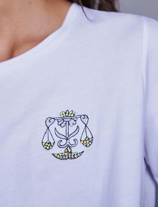 Maje Embroidery and rhinestone cotton t-shirt