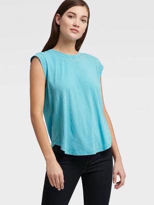 DKNY Women's Raw Edge Cap Sleeve T-shirt - Turquoise - Size M