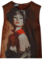 Prada Printed Wool And Silk-blend Twill Top - Brown