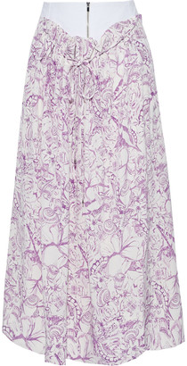 Tibi Isa Gathered Printed Silk Crepe De Chine Midi Skirt
