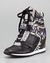 Geri Mixed Material Wedge Sneaker