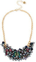 Betsey Johnson Two-Tone Pavé Butterfly and Imitation Pearl Cluster Statement Necklace