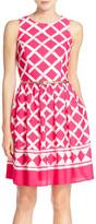 Eliza J Print Crepe de Chine Fit & Flare Dress