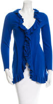 Magaschoni Ruffled-Accented Knit Cardigan