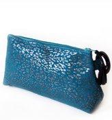 Carnet de Mode Lagon Rouge case - jaguar printed suede - peacock blue