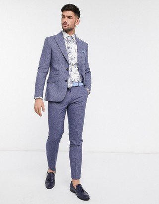 Moss Bros slim fit herringbone suit pants in blue