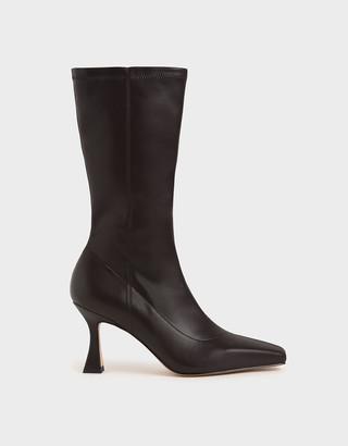 Charles & Keith Spool Heel Calf Boots