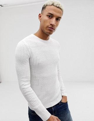 ASOS DESIGN muscle fit lightweight cable jumper in white