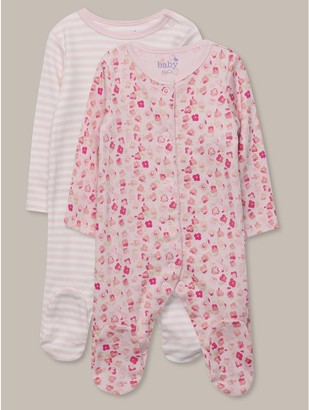 M&Co Floral stripe sleepsuits two pack (Tinybaby-18mths)