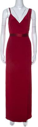 Diane von Furstenberg Red Silk Asymmetric Side Slit Gown S