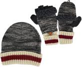 Muk Luks Men's Marled Knit Cap and Flip Mittens With Sock-Style Stripe Cuff Set