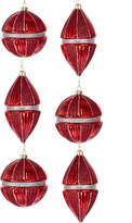 Kurt Adler Red & Silver Molded Glass Ornament 6Pc Set