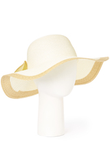 White Contrast Bow-Accent Sunhat