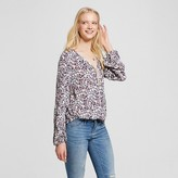 Mossimo Women's Long Sleeve Woven Top Cream Print