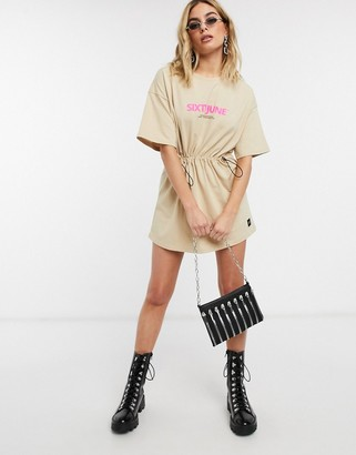 Sixth June t-shirt dress with drawstring waist and logo