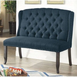 Darby Home Co Meda Tufted High Back 2-Seater Love Seat Upholstered Bench Darby Home Co Upholstery/Nailhead Detail: Blue/Blue