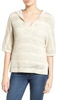 Women's Caslon Open Work Cotton Hoodie Sweater