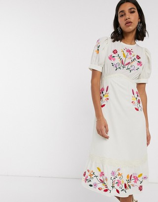 Asos Design DESIGN embroidered midi tea dress in cream