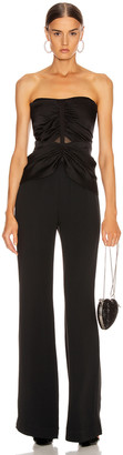 Jonathan Simkhai Ruched Strapless Jumpsuit in Black | FWRD