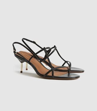 Reiss Ophelia - Leather Strappy Kitten Heels in Black