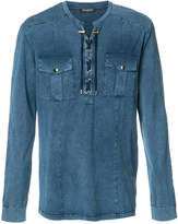 Balmain lace-up detail shirt