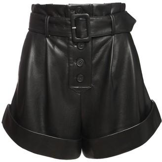 Self-Portrait High Waist Faux Leather Shorts