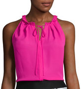 WORTHINGTON Worthington Sleeveless Halter Blouse with Tie - Tall