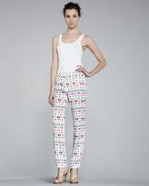 Erin Fetherston Skinny Butterfly-Print Pants
