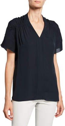 Elie Tahari Elvin V-Neck Short-Sleeve High-Low Silk Blouse
