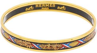 Hermes Gold-Plated Printed Enamel Narrow Bangle