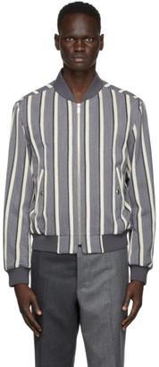 Thom Browne Grey Velvet Stripe Bomber Jacket