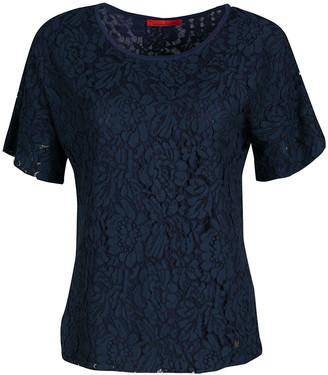 Carolina Herrera CH Navy Blue Floral Lace Overlay Short Sleeve Top S
