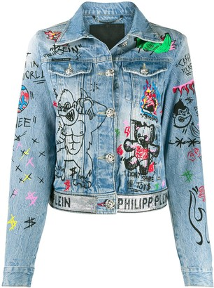 Philipp Plein Art 5 Graffiti denim jacket