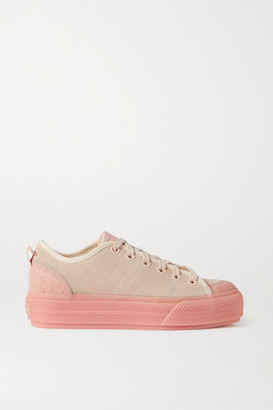 adidas Nizza Rubber And Calf Hair-trimmed Suede Sneakers - Pink