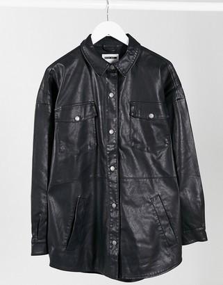 Noisy May oversized leather look shacket in black