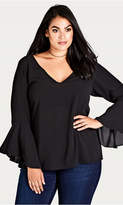 City Chic Black Bell Sleeve Top