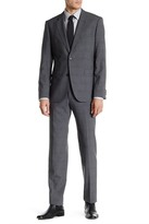 HUGO BOSS Gray Glen Plaid Wool Two Button Notch Lapel Suit