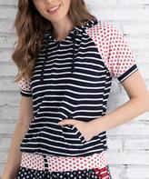 Z Avenue Women's Sweatshirts and Hoodies Navy - Navy & Red Dot & Stripe Zip-Up Hoodie - Women & Plus