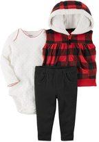 Carter's Baby Girl Hooded Buffalo Check Fleece Vest