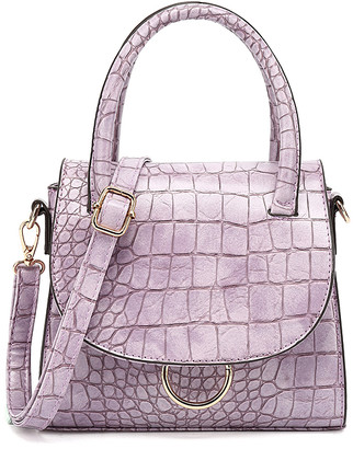 Style Strategy Women's Crossbodies Purple - Purple Croc-Embossed Open Ring Crossbody Bag